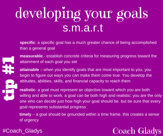 Coach Gladys Tip #1 SMART Goal