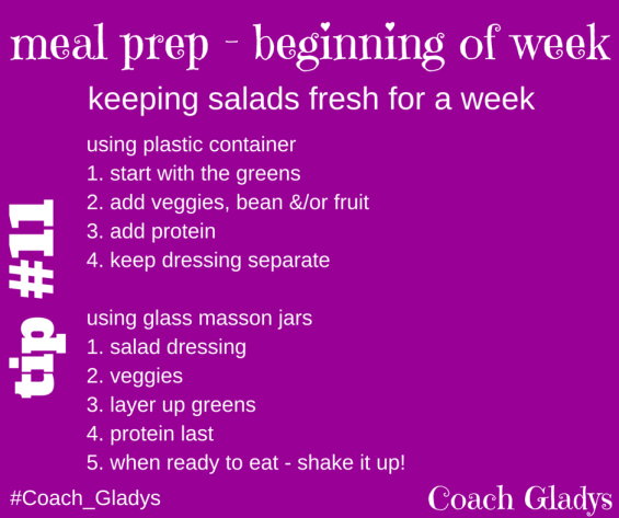Coach Gladys Tip #11 meal prep keeping salad fresh a week